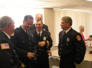 Firefighters with Grant Evans